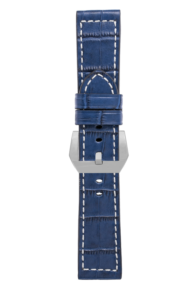 Panerai-Style Marino Alligator Embossed Watch Strap in BLUE