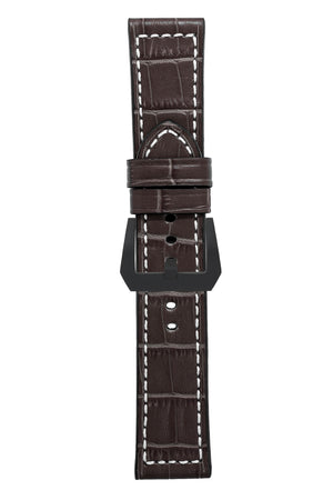 Panerai-Style Marino Alligator Embossed Watch Strap in BROWN