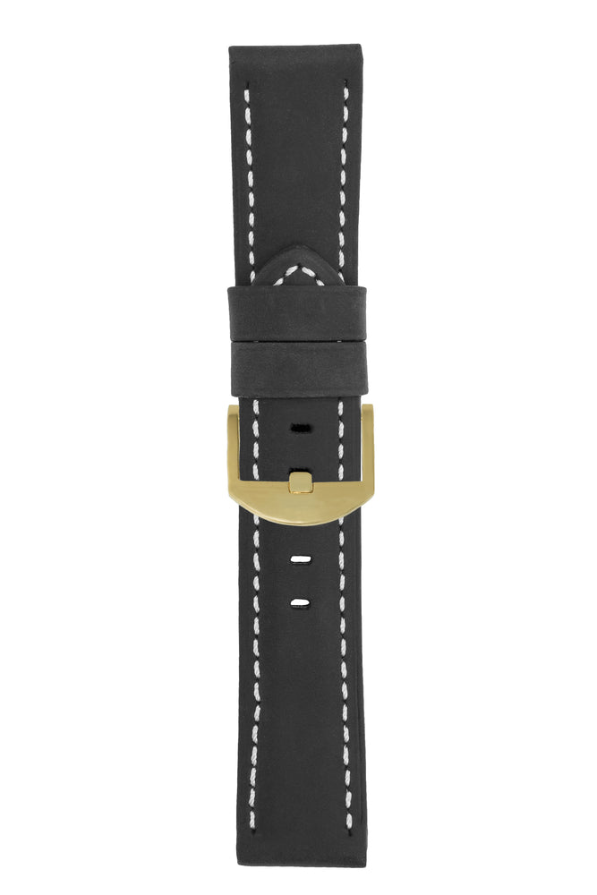 Panerai-Style Vertigo Buffalo Suede Watch Strap in BLACK