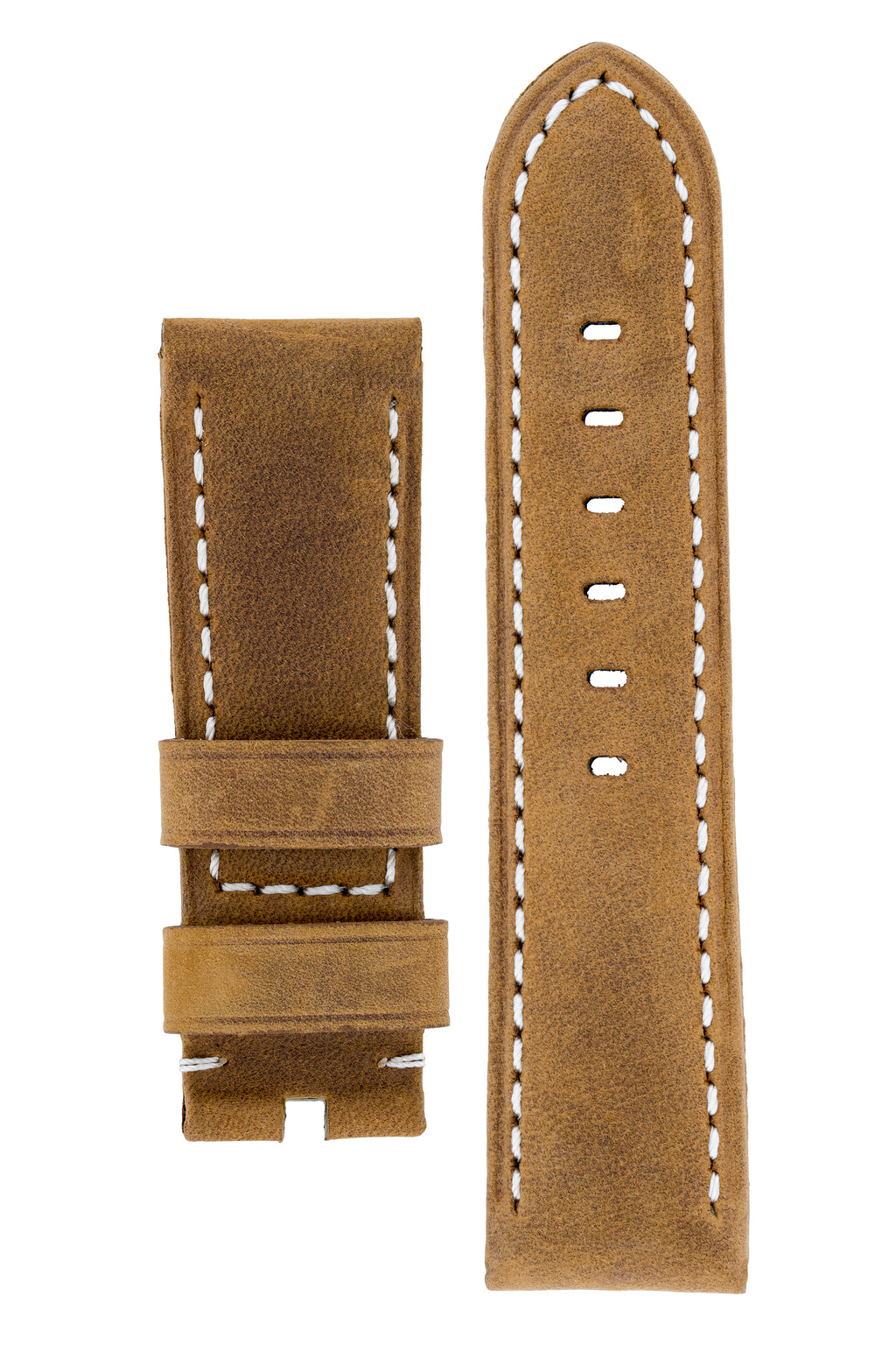 Panerai-Style Vertigo Buffalo Suede Watch Strap in GOLD BROWN