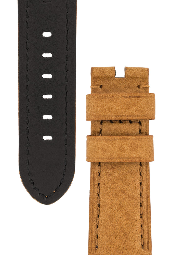 Panerai-Style Vintage Leather Watch Strap in GOLD BROWN