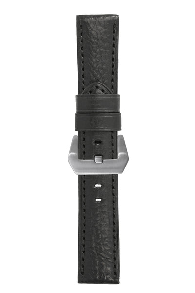 Panerai-Style Vintage Leather Watch Strap in BLACK