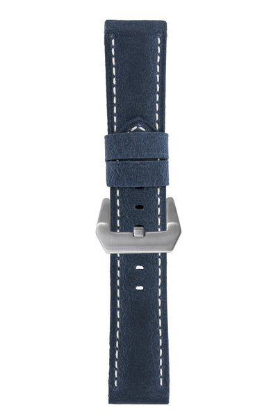 Panerai-Style Vertigo Buffalo Suede Watch Strap in DARK BLUE
