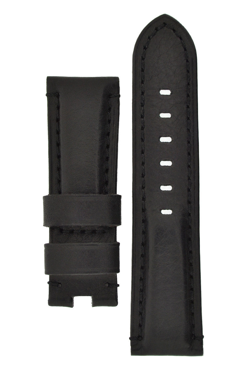 Panerai-Style Vintage Leather Deployment Watch Strap in BLACK