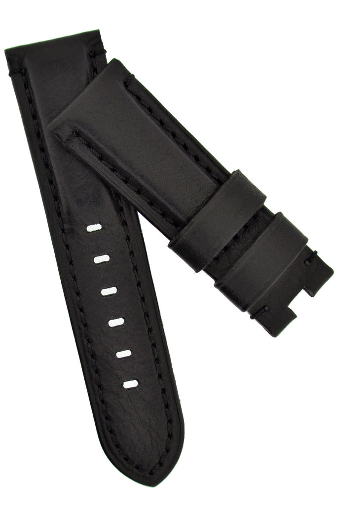 Panerai Style Vintage Leather Deployment Watch Strap in BLACK