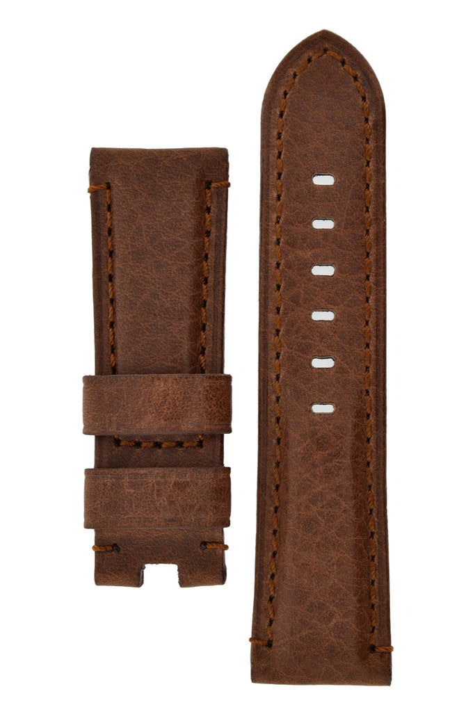 Panerai Style Vintage Leather Deployment Watch Strap in BROWN