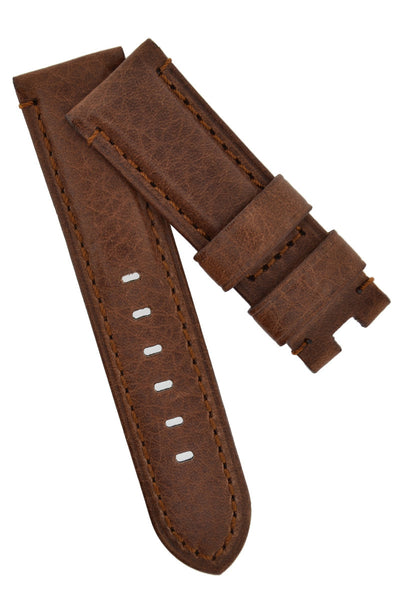 Panerai-Style Vintage Leather Deployment Watch Strap in BROWN