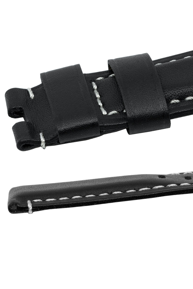 Panerai-Style Calf Leather Deployment Watch Strap in BLACK