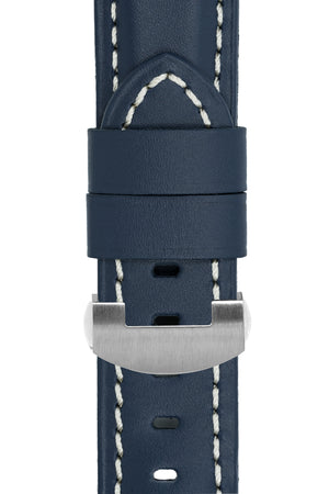 Panerai-Style Calf Leather Deployment Watch Strap in BLUE