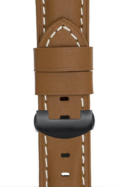 Panerai-Style Calf Leather Deployment Watch Strap in CARAMEL