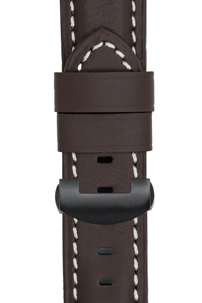 Panerai-Style Calf Leather Deployment Watch Strap in CHOCOLATE