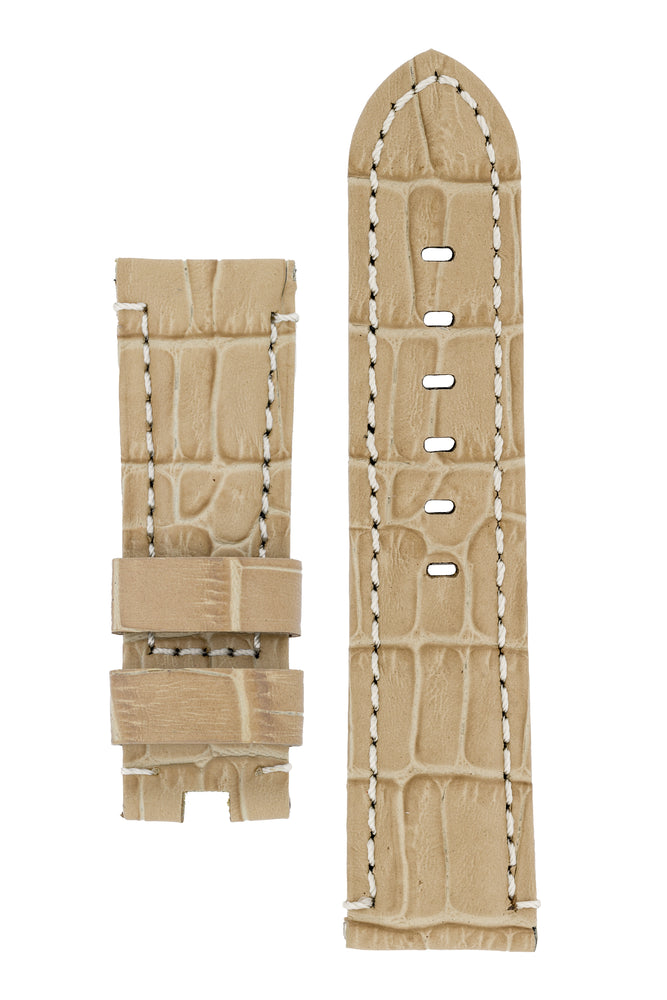 Panerai-Style Alligator-Embossed Deployment Watch Strap in BEIGE