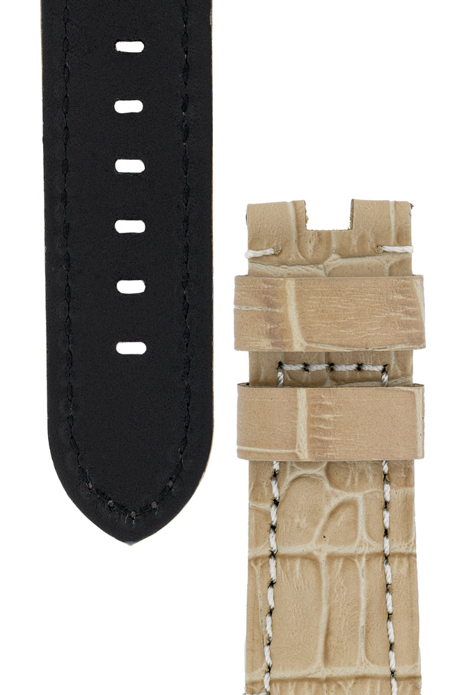 Load image into Gallery viewer, Panerai-Style Alligator-Embossed Deployment Watch Strap in BEIGE