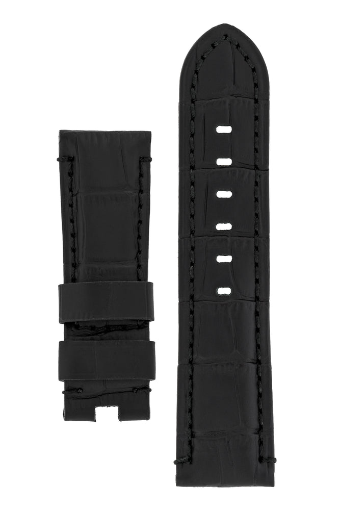 Load image into Gallery viewer, Panerai-Style Alligator-Embossed Deployment Watch Strap in BLACK / BLACK