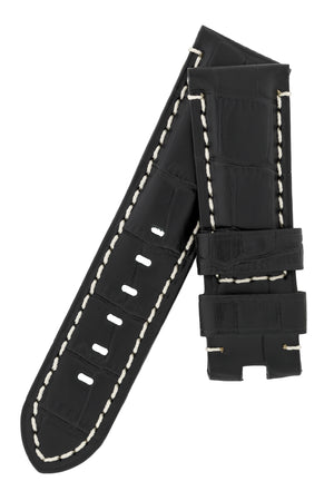 Panerai-Style Alligator-Embossed Deployment Watch Strap in BLACK / WHITE