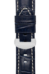 Panerai-Style Alligator-Embossed Deployment Watch Strap in NIGHT BLUE