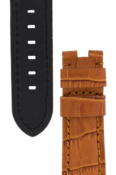 Panerai-Style Alligator-Embossed Deployment Watch Strap in BROWN / BROWN
