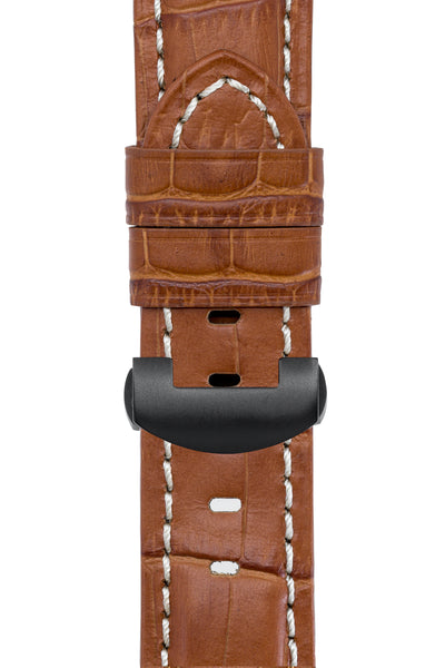 Panerai-Style Alligator-Embossed Deployment Watch Strap in BROWN / WHITE