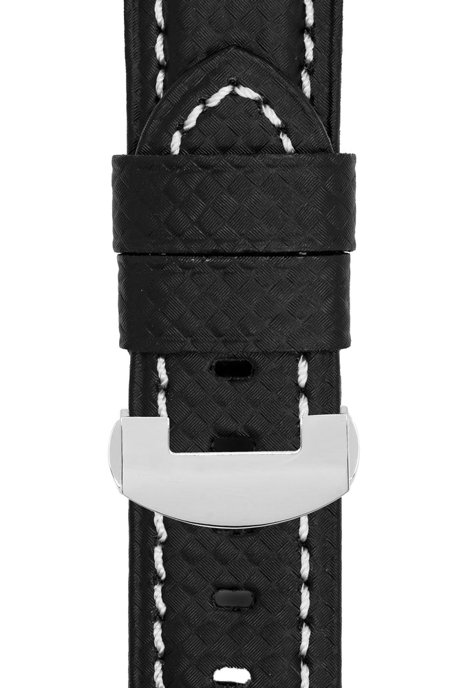Panerai-Style Carbon Deployment Watch Strap in BLACK