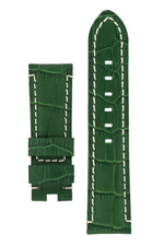 Panerai-Style Alligator-Embossed Deployment Watch Strap in GREEN