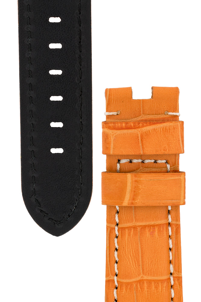 Load image into Gallery viewer, Panerai-Style Alligator-Embossed Deployment Watch Strap in ORANGE