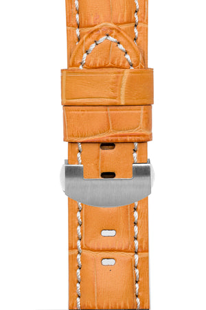 Panerai Style Alligator-Embossed Deployment Watch Strap in ORANGE