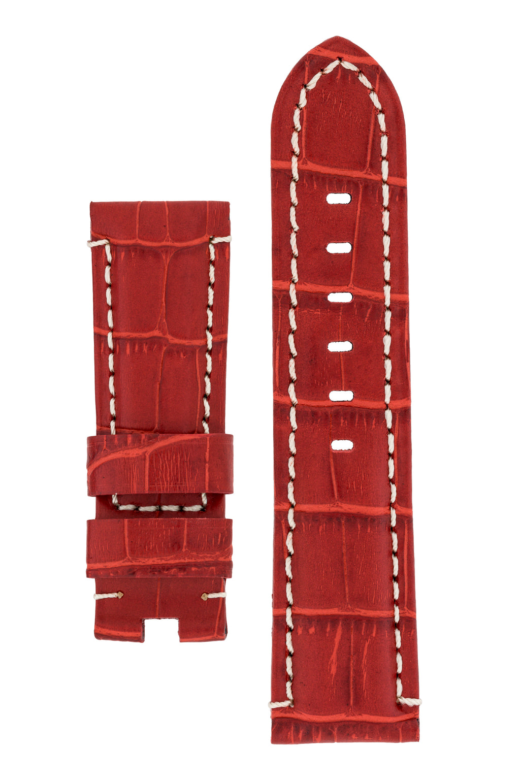 Panerai-Style Alligator-Embossed Deployment Watch Strap in RED