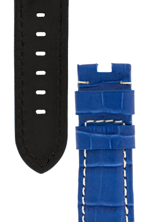 Panerai-Style Alligator-Embossed Deployment Watch Strap in ROYAL BLUE