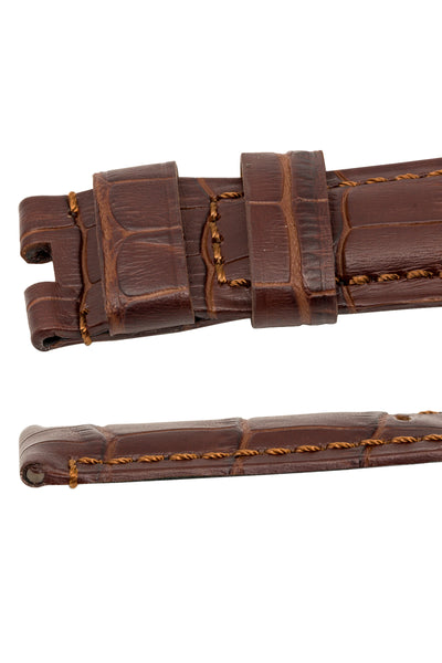 Panerai-Style Alligator-Embossed Deployment Watch Strap in TABAC / TABAC
