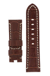 Panerai-Style Alligator-Embossed Deployment Watch Strap in TABAC / WHITE