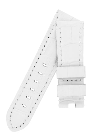 Panerai-Style Alligator-Embossed Deployment Watch Strap in WHITE