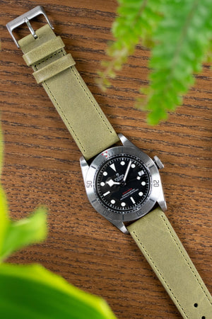 Pebro RUSTIC Vintage Leather Watch Strap in OLIVE GREEN