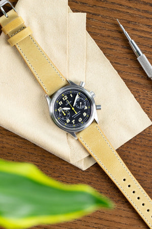 Pebro VINTAGE Leather Watch Strap in MUSTARD
