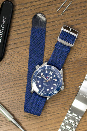 MELANGE PERLON Braided Watch Strap & Buckle in DEEP BLUE
