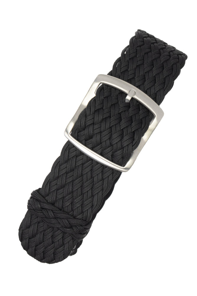 PERLON Double Yarn Braided One Piece Watch Strap & Buckle in BLACK