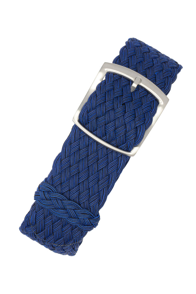PERLON Double Yarn Braided One Piece Watch Strap & Buckle in BLUE