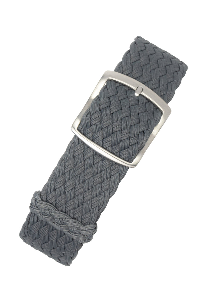 PERLON Double Yarn Braided One Piece Watch Strap & Buckle in DARK GREY