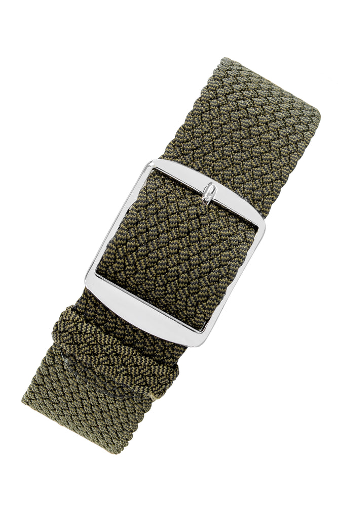MELANGE PERLON Braided Watch Strap & Buckle in JUNIPER GREEN