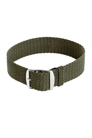 Load image into Gallery viewer, MELANGE PERLON Braided Watch Strap & Buckle in JUNIPER GREEN