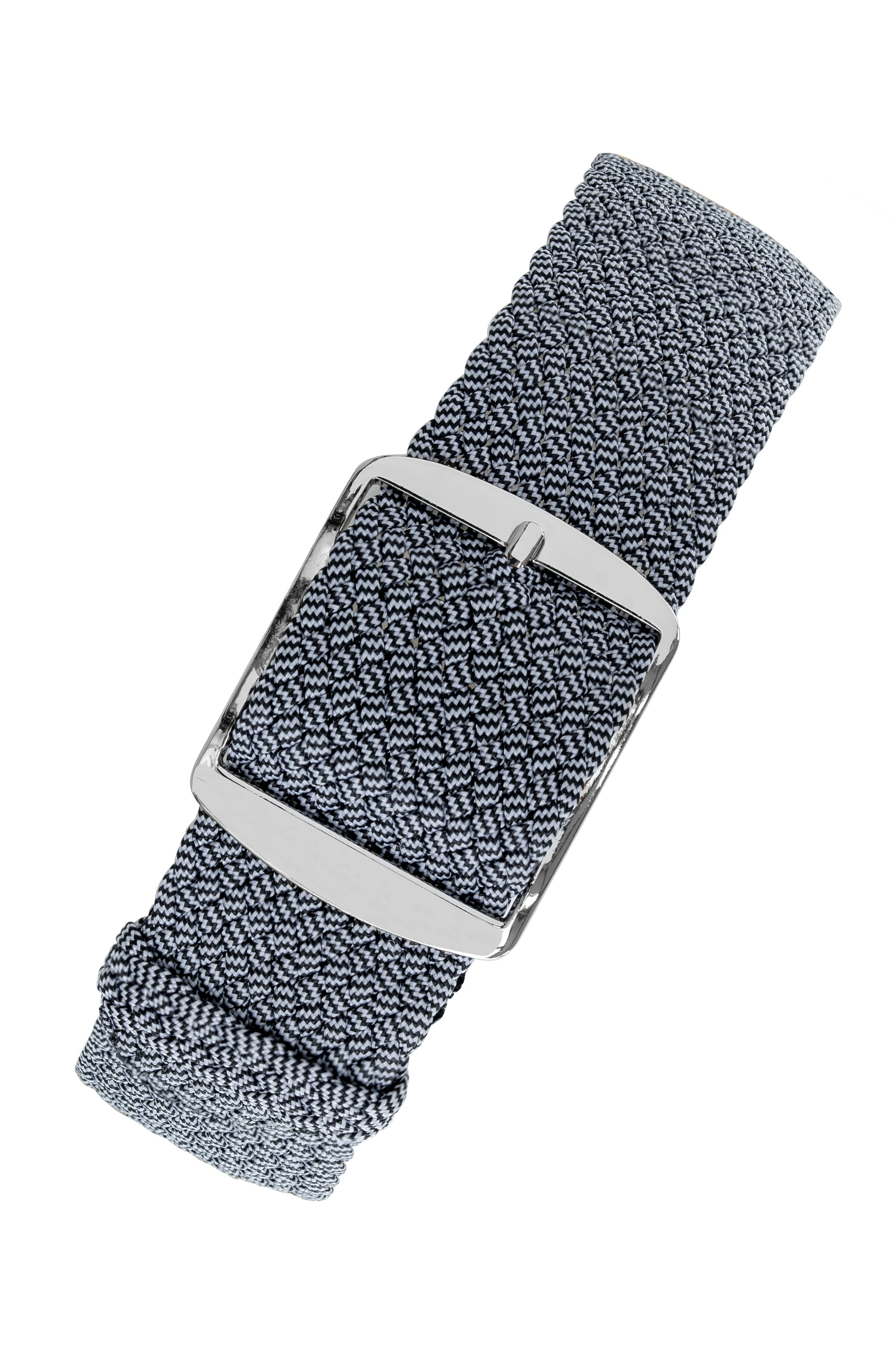 MELANGE PERLON Braided Watch Strap & Buckle in MOONLIGHT GREY