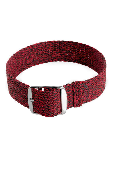 MELANGE PERLON Braided Watch Strap & Buckle in SANGRIA RED