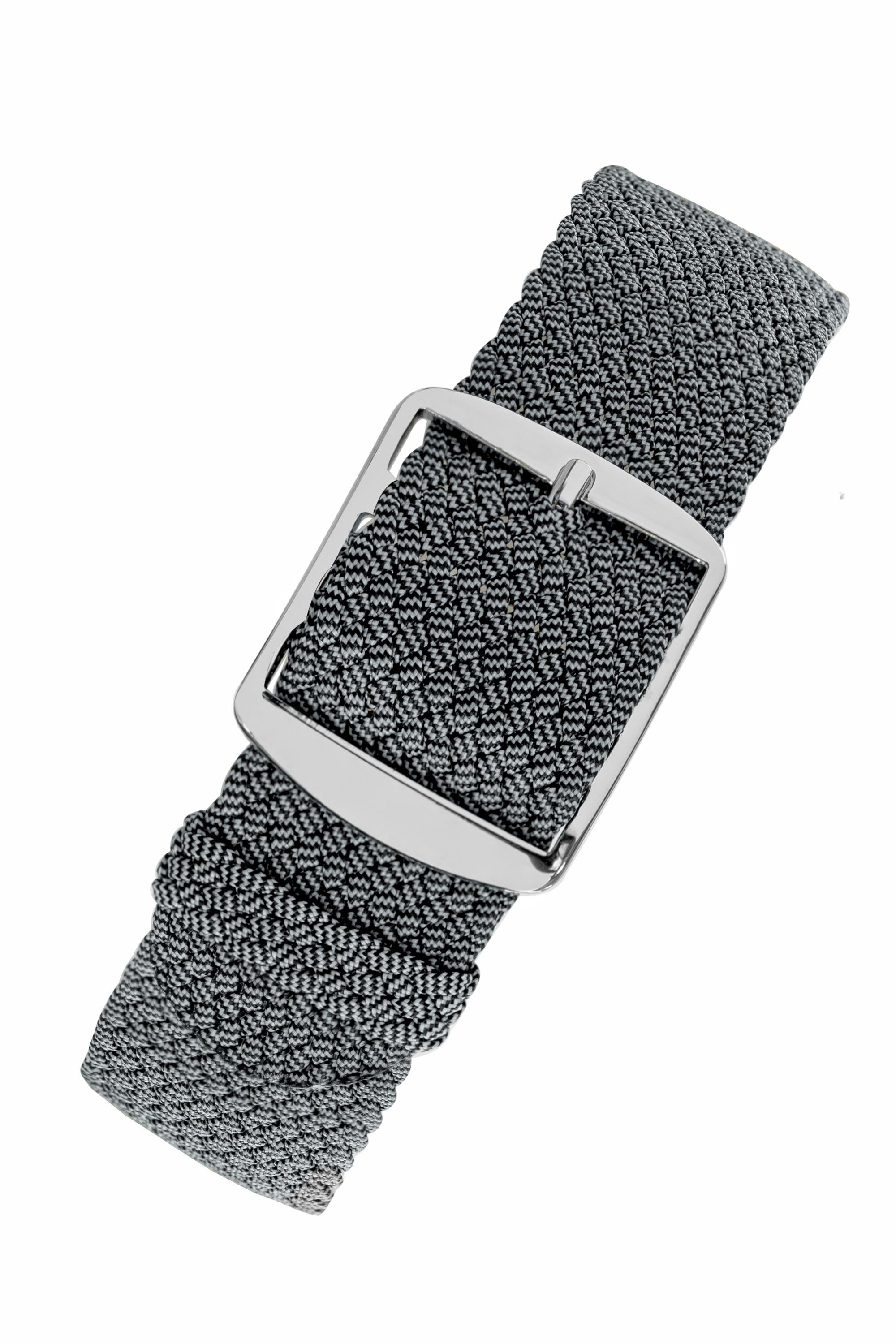 MELANGE PERLON Braided Watch Strap & Buckle in SHADOW GREY