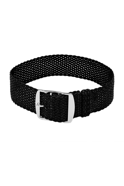 PERLON Braided One Piece Watch Strap & Buckle in BLACK