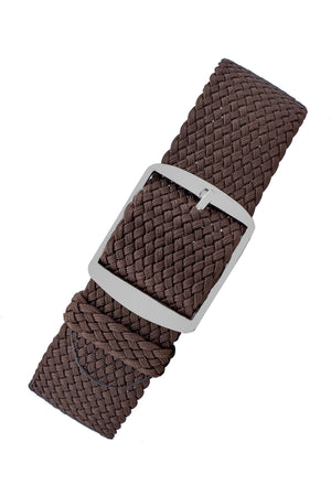 Load image into Gallery viewer, PERLON Braided One Piece Watch Strap & Buckle in BROWN