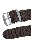 PERLON Braided One Piece Watch Strap & Buckle in BROWN