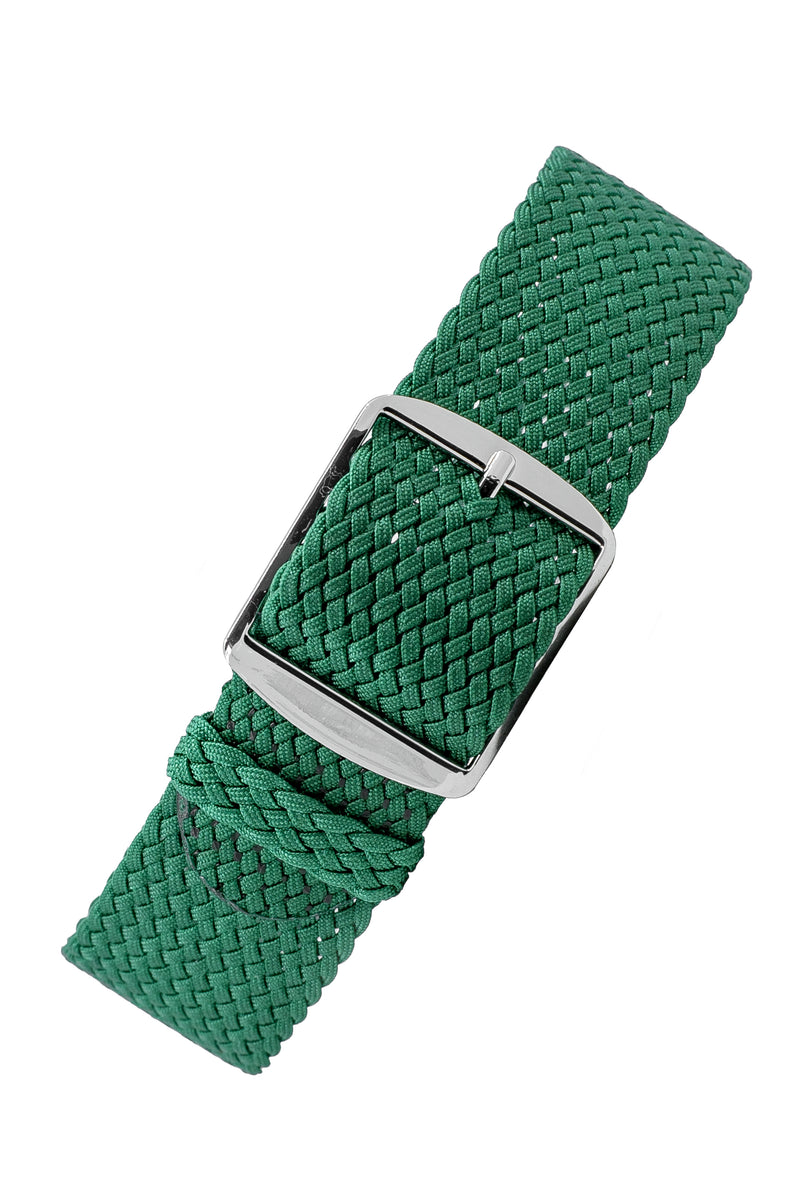 PERLON Braided One Piece Watch Strap & Buckle in GREEN