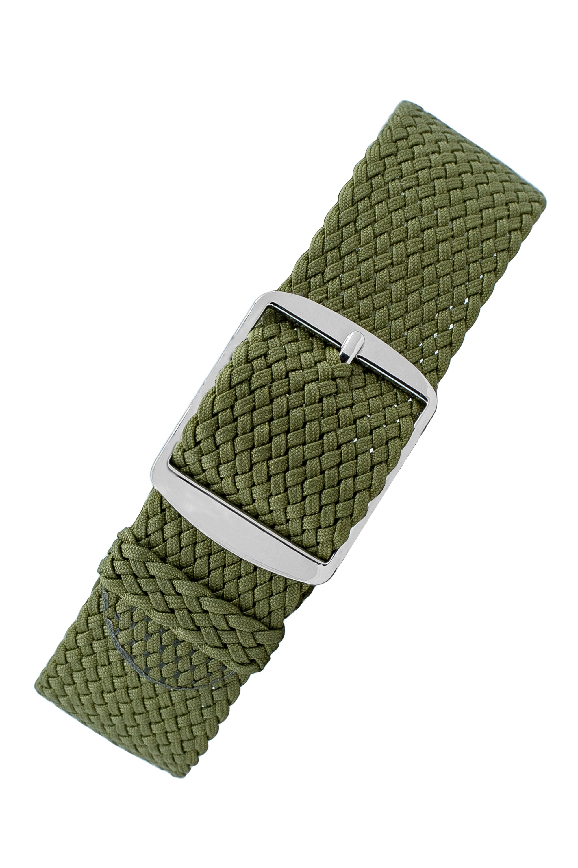 PERLON Braided One Piece Watch Strap & Buckle in MILITARY GREEN