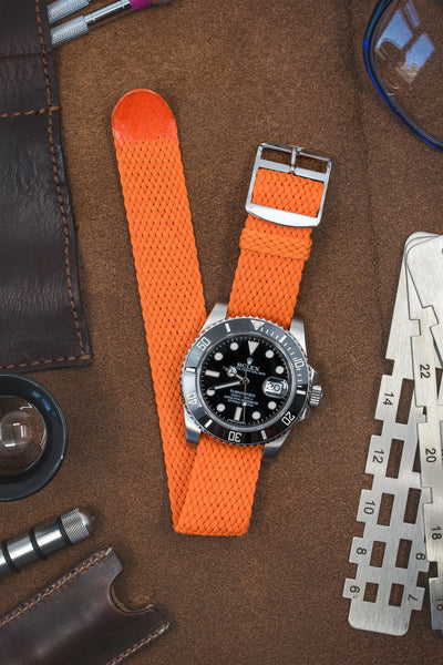 Perlon Braided One Piece Watch Strap Amp Buckle In Orange