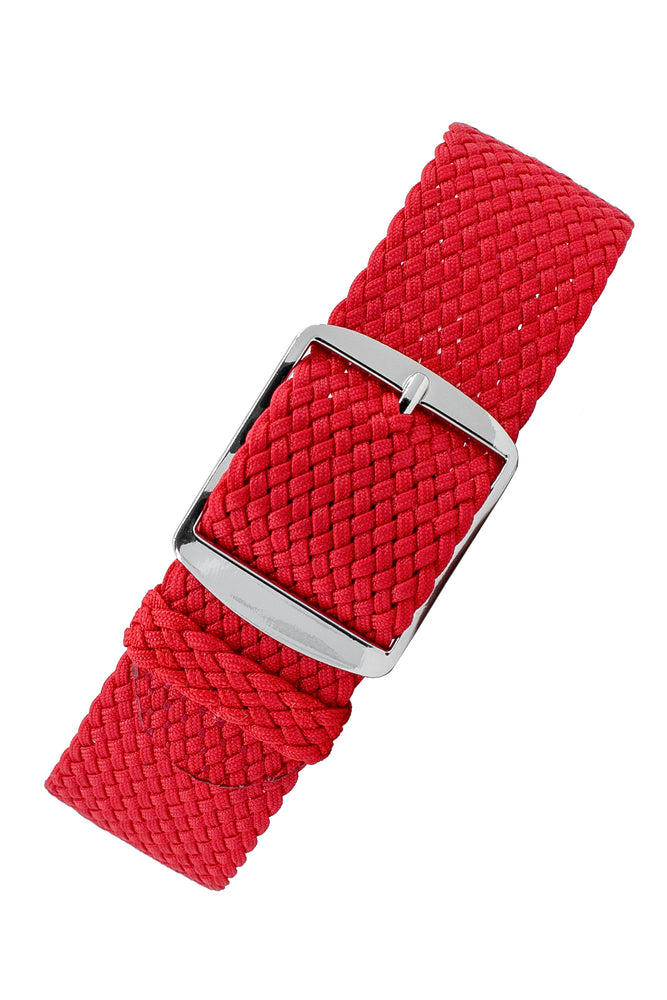 PERLON Braided One Piece Watch Strap & Buckle in RED