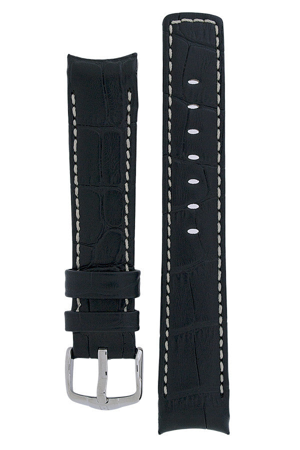 Hirsch Principal curved ended leather watch strap in black with ivory stitching